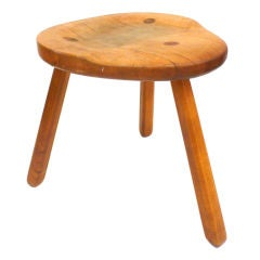 Unusual 3-legged Stool with Sculpted Seat