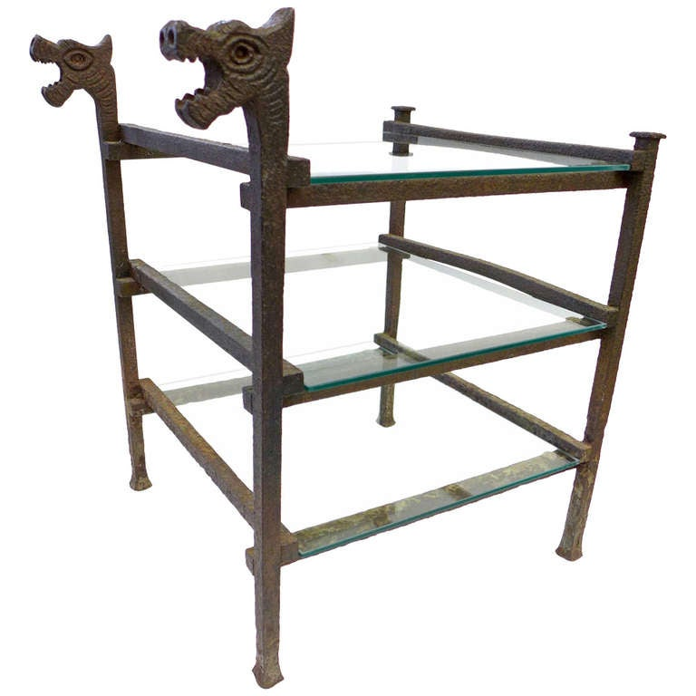 Wrought iron and glass side table with dragon heads at 1stdibs for Wrought iron and glass side tables