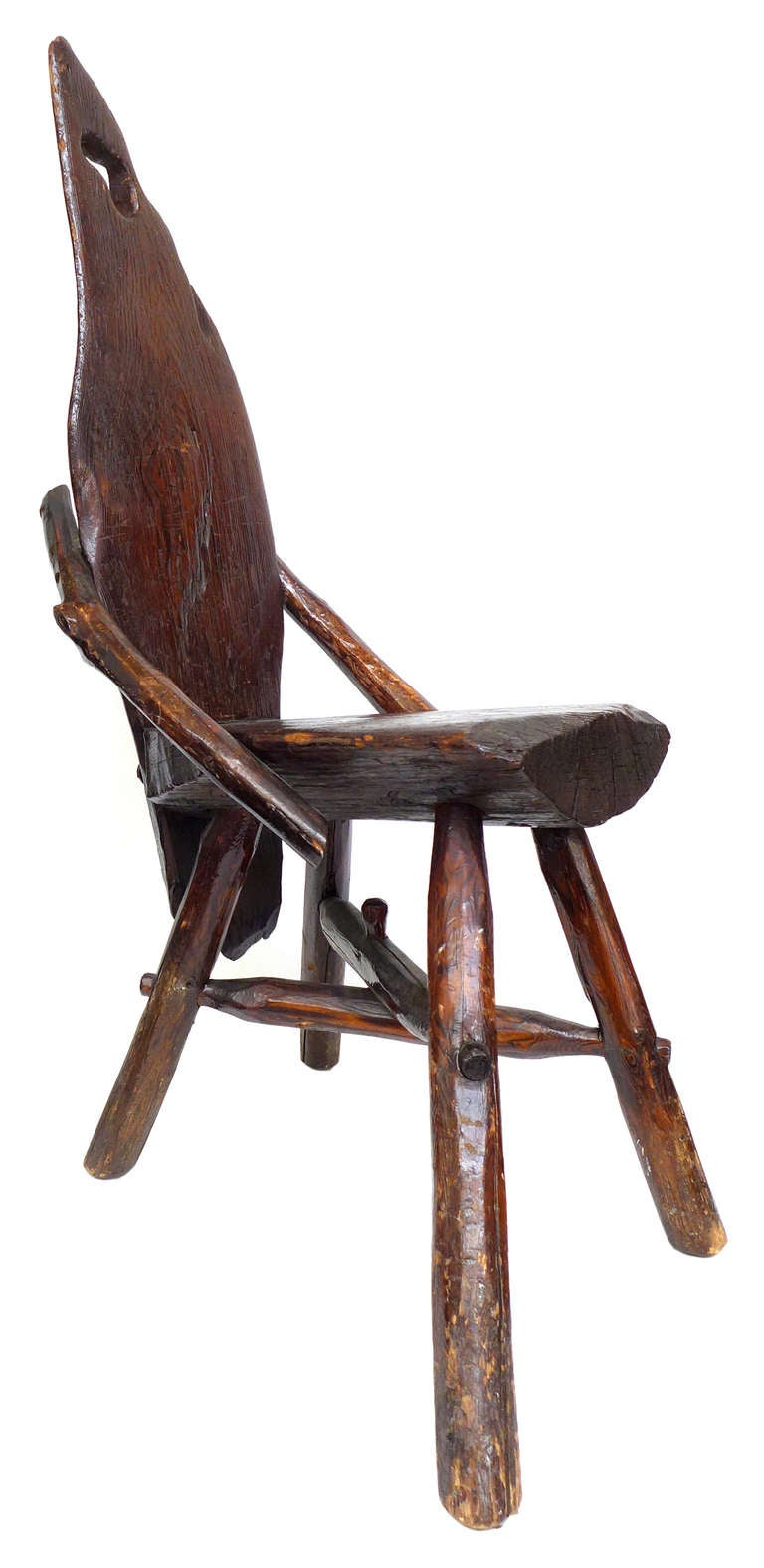 Primitive Wood Bough And Slab Chair At 1stdibs
