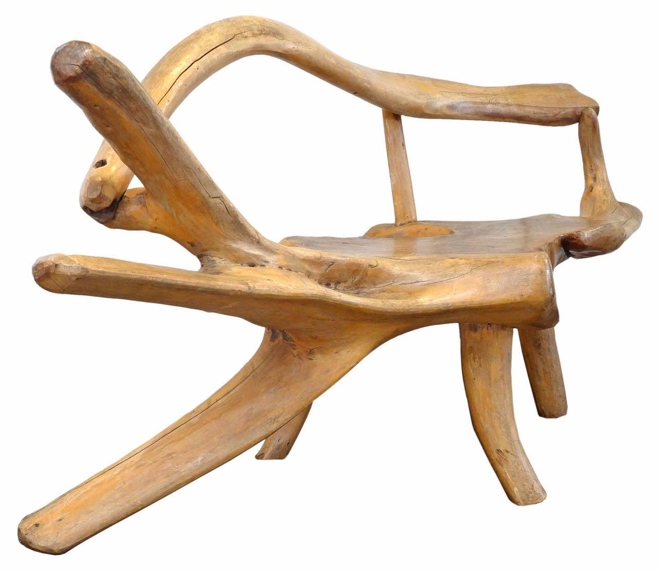 Large sculptural burl wood bench at stdibs