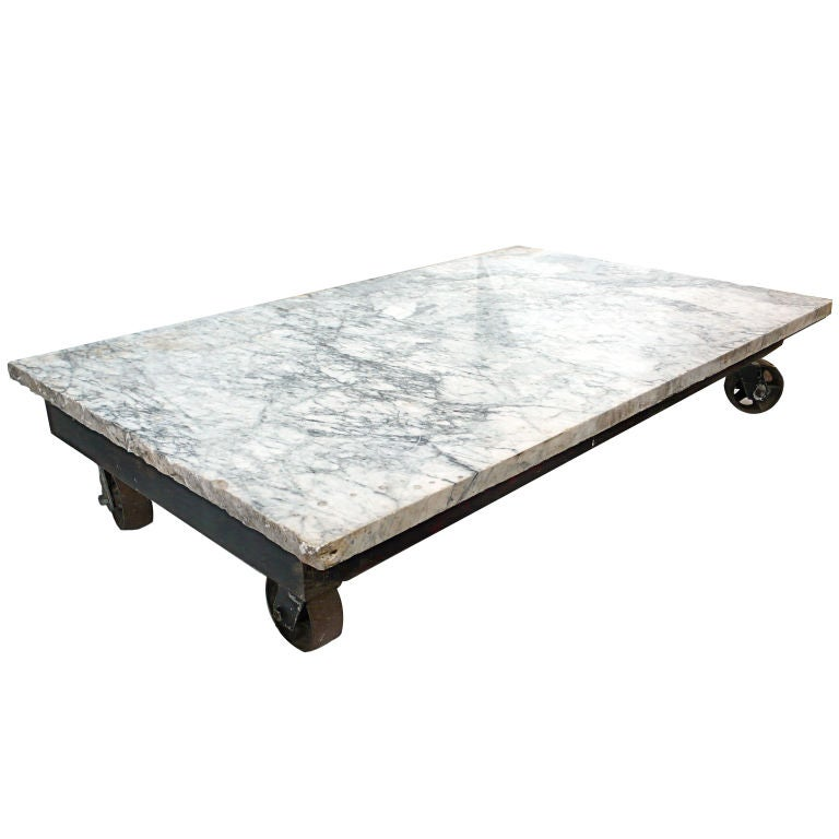 Massive Industrial And Carrera Marble Top Coffee Table At 1stdibs