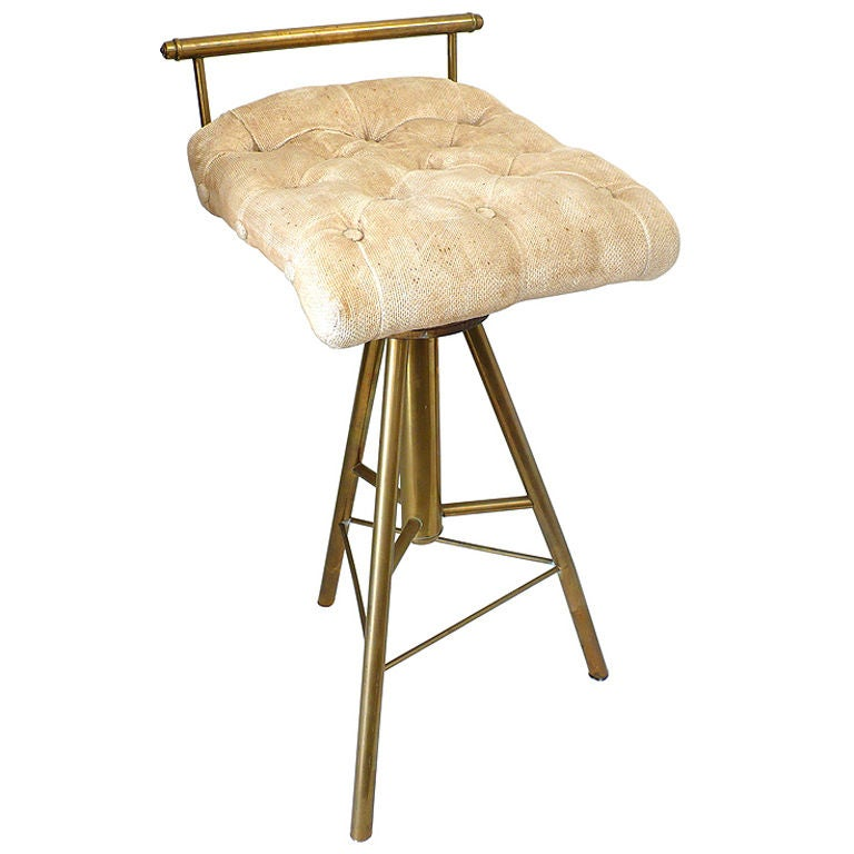 Late Victorian Adjustable 3 Legged Brass Stool For Sale At