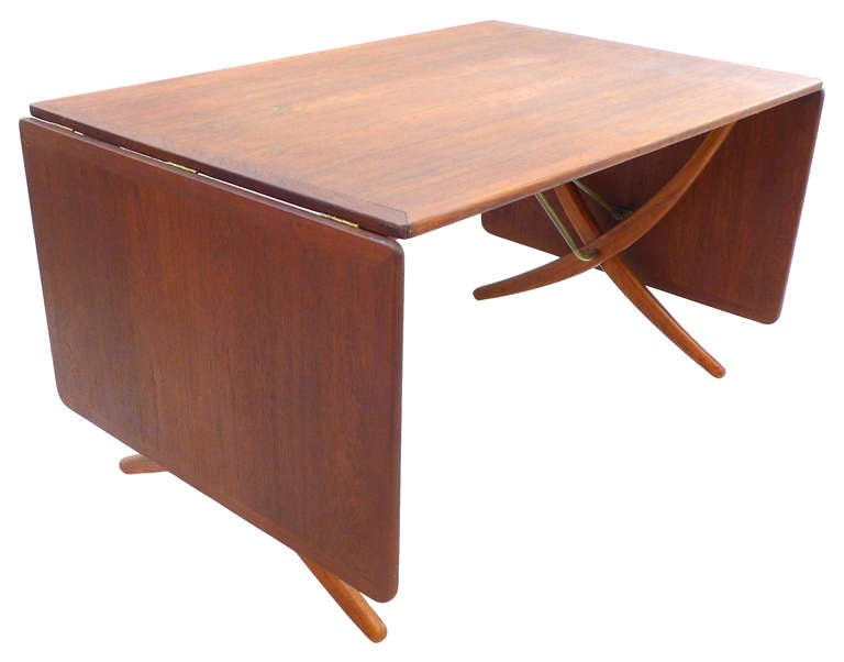 Iconic drop leaf scissor leg table by hans wegner at 1stdibs for Iconic tables