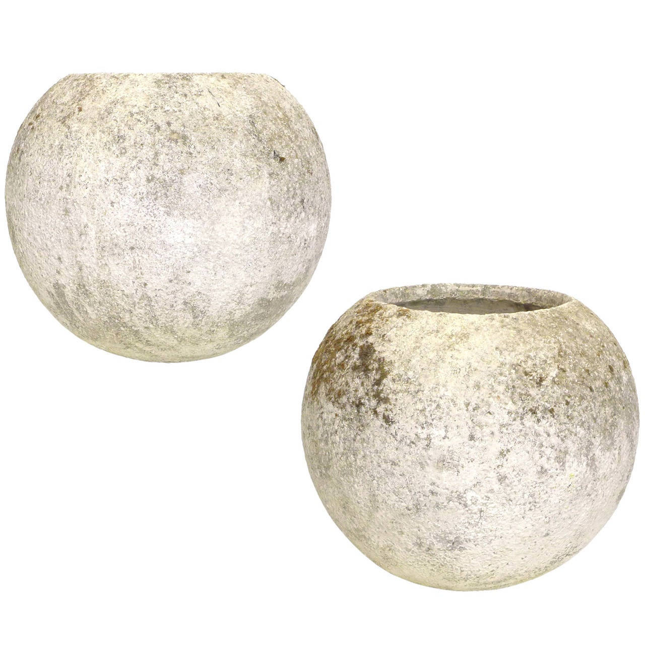 Pair of french spherical cast concrete planters at 1stdibs - Casting concrete planters ...