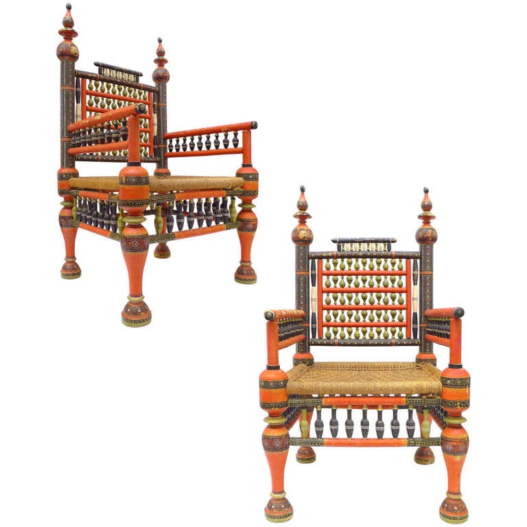 Pair of Wonderfully Decorated Traditional Pakistani Chairs