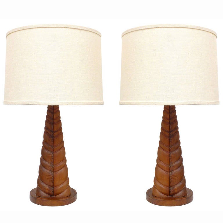 this unusual pair of carved wood table lamps is no longer available. Black Bedroom Furniture Sets. Home Design Ideas