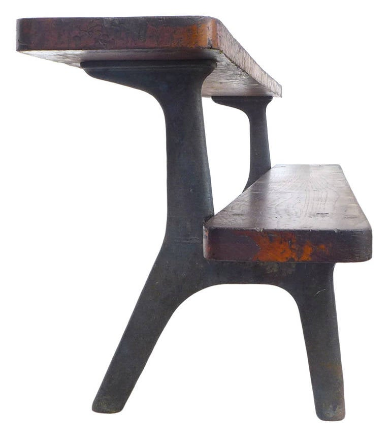 Unusual Two Tier Industrial Bench At 1stdibs