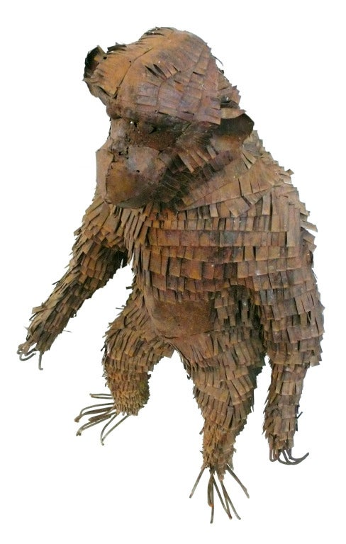 Welded Life-Sized Metal Monkey Sculpture