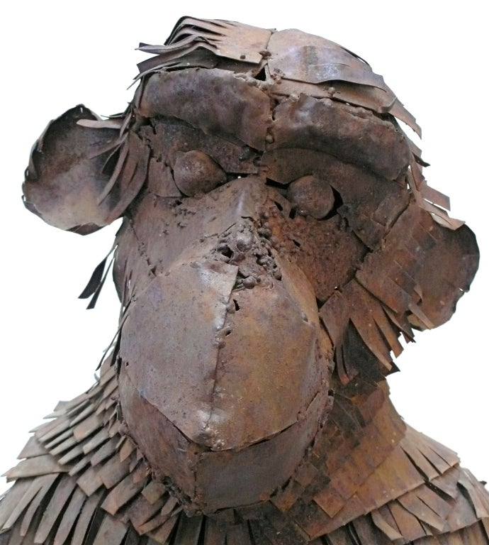 Steel Life-Sized Metal Monkey Sculpture