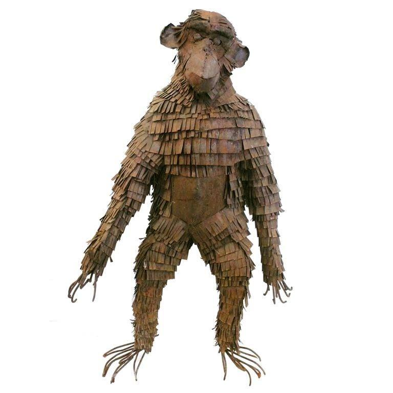 Life-Sized Metal Monkey Sculpture