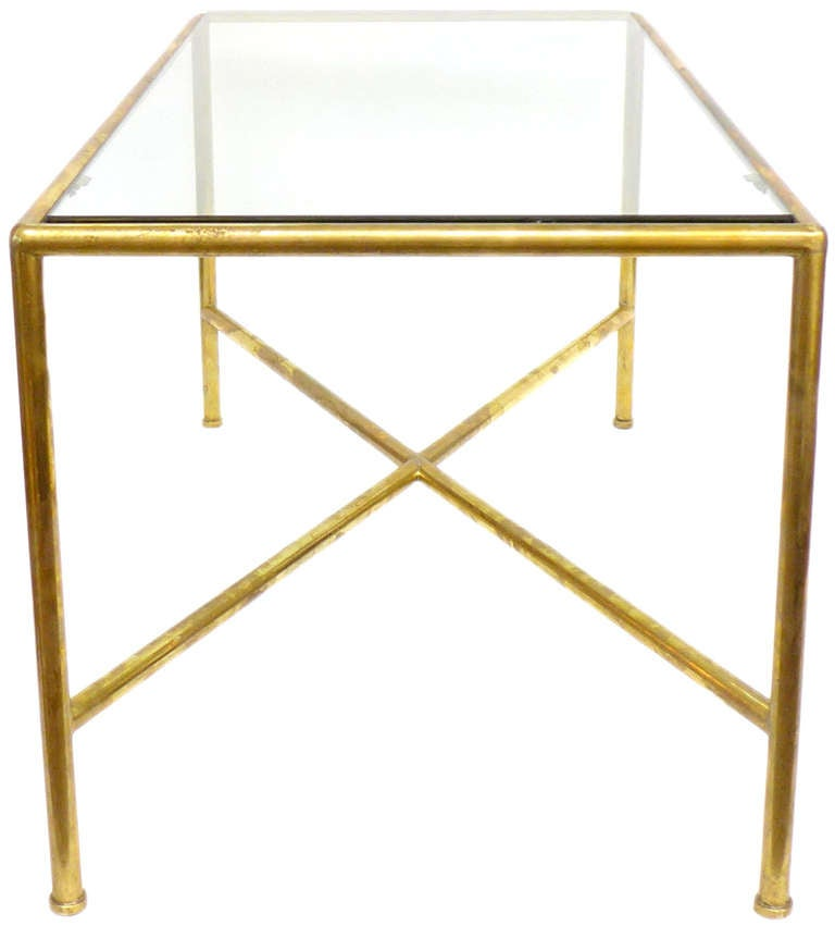Custom Brass Coffee Table: Tubular Brass And Glass Custom Coffee Table At 1stdibs