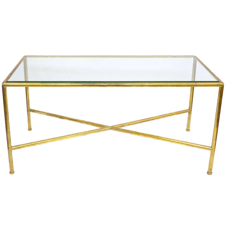 Brass Display Coffee Table: Tubular Brass And Glass Custom Coffee Table At 1stdibs
