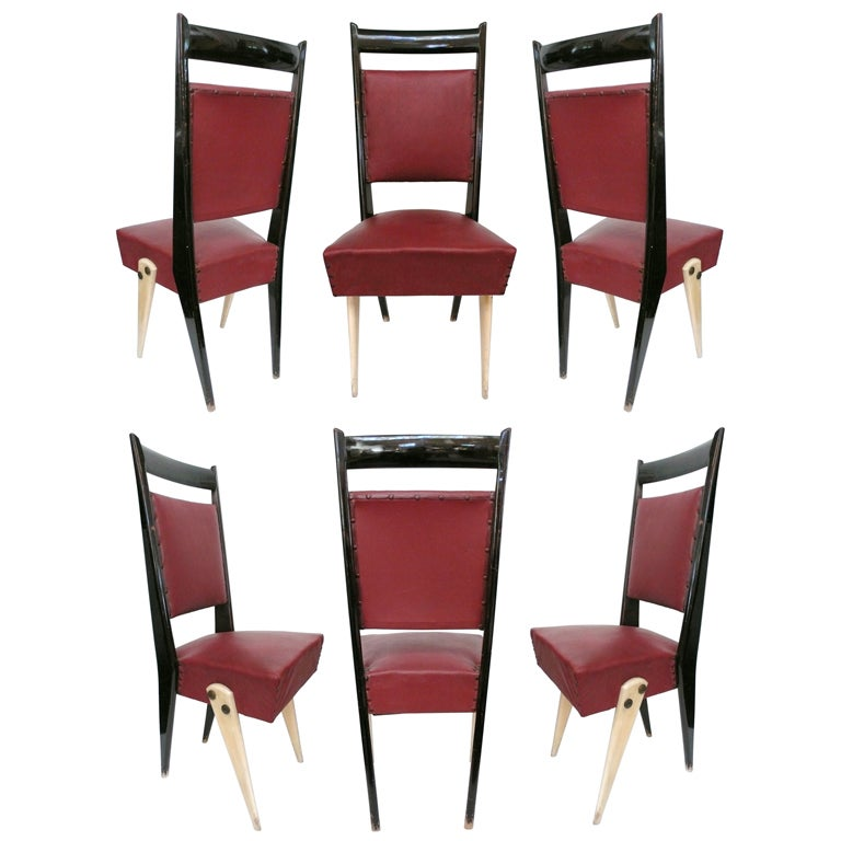 Set of 6 Italian Tall-Back Modernist Dining Chairs