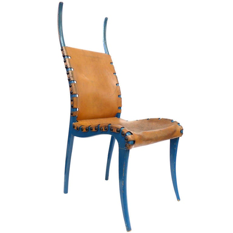 italian leather and blue lacquered wood horn chair at