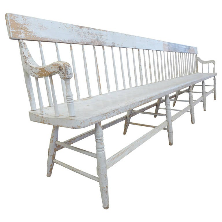Exceptionally Long and Fantastic Americana Spindle-Back Bench at 1stdibs