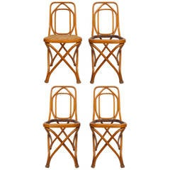 Set of 4 Bentwood & Cane Chairs by Thonet