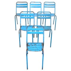 Set of 6 French Metal Stacking Chairs