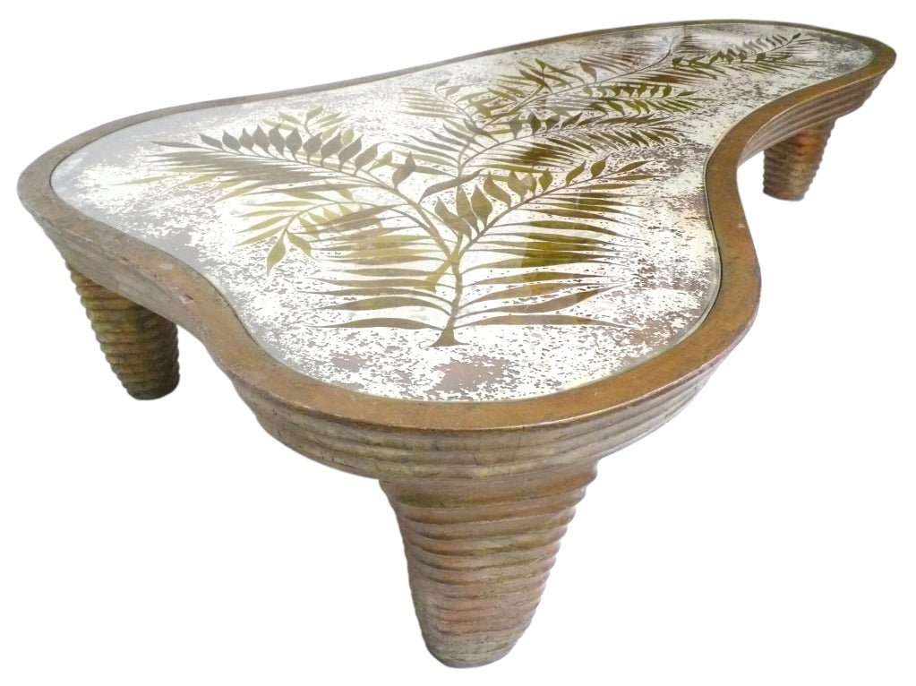 Spectacular Reverse Painted Glass And Hand Carved Coffee Table At 1stdibs