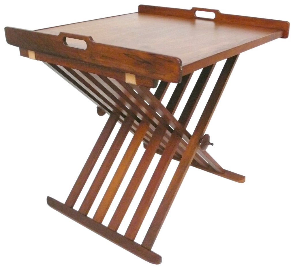 Campaign Folding X Base Tray Table By Drexel At 1stdibs