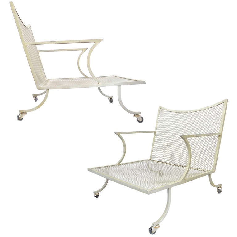 Pair of Low Wide Outdoor Iron Lounge Chairs at 1stdibs