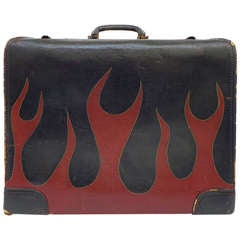 "Fantastic Hand-Painted Leather ""Flames"" Suitcase"