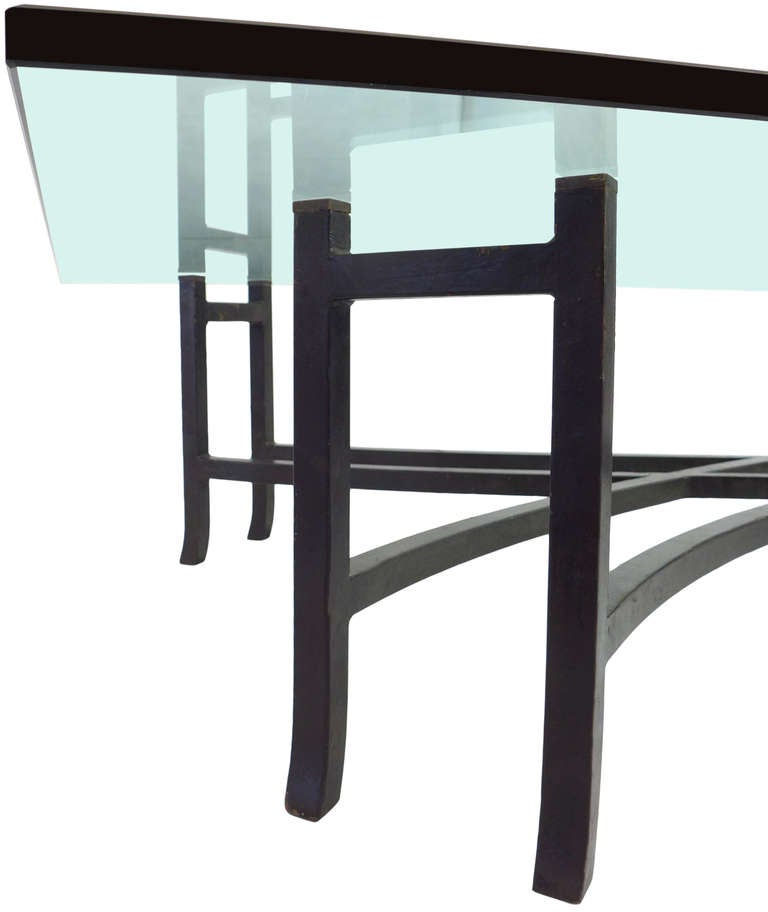 large and fantastic wrought iron glass top coffee table at 1stdibs. Black Bedroom Furniture Sets. Home Design Ideas