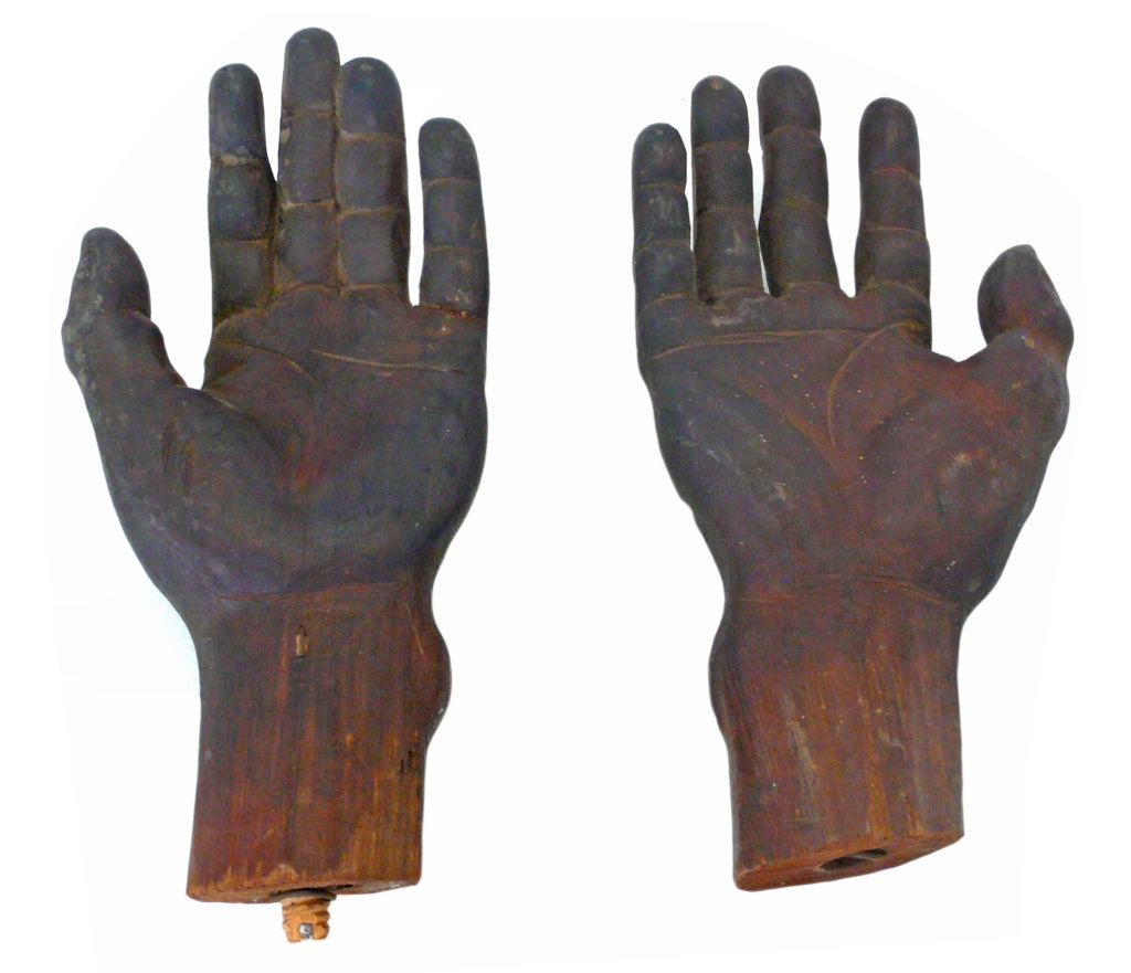 Pair of lifelike hand carved wooden mannequin hands at stdibs