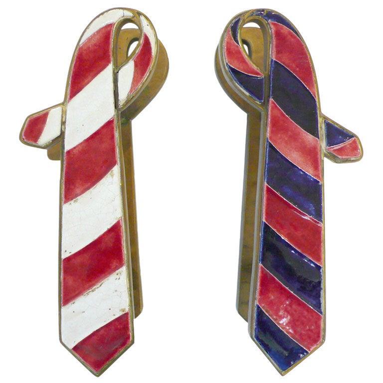 """Pair of French Brass and Ceramic """"Ties"""" Door Pulls"""