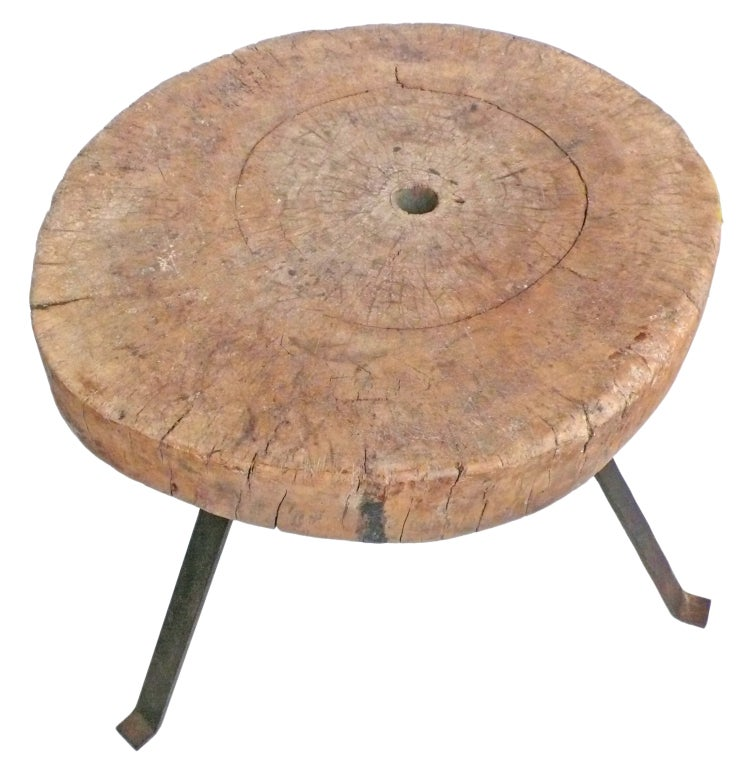 Massive Wood And Steel Chopping Block Table At 1stdibs