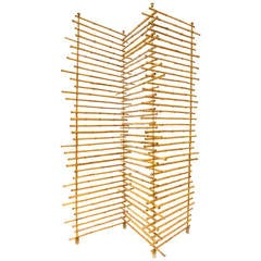 Three-Paneled Decorative Bamboo Screen