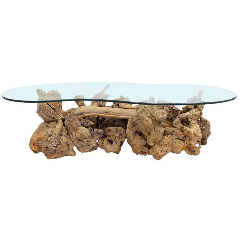 Glass-Top Coffee Table of Drift & Burl Woods 1