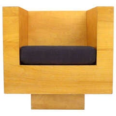 Architectural Plywood Cube Swivel Chair
