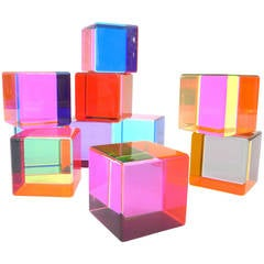 Set of 10 Multicolored Acrylic Cubes by Vasa Mihich