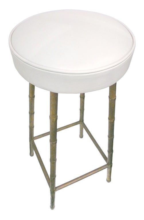 Pair Of 1940 S Brass And Leather Stools At 1stdibs