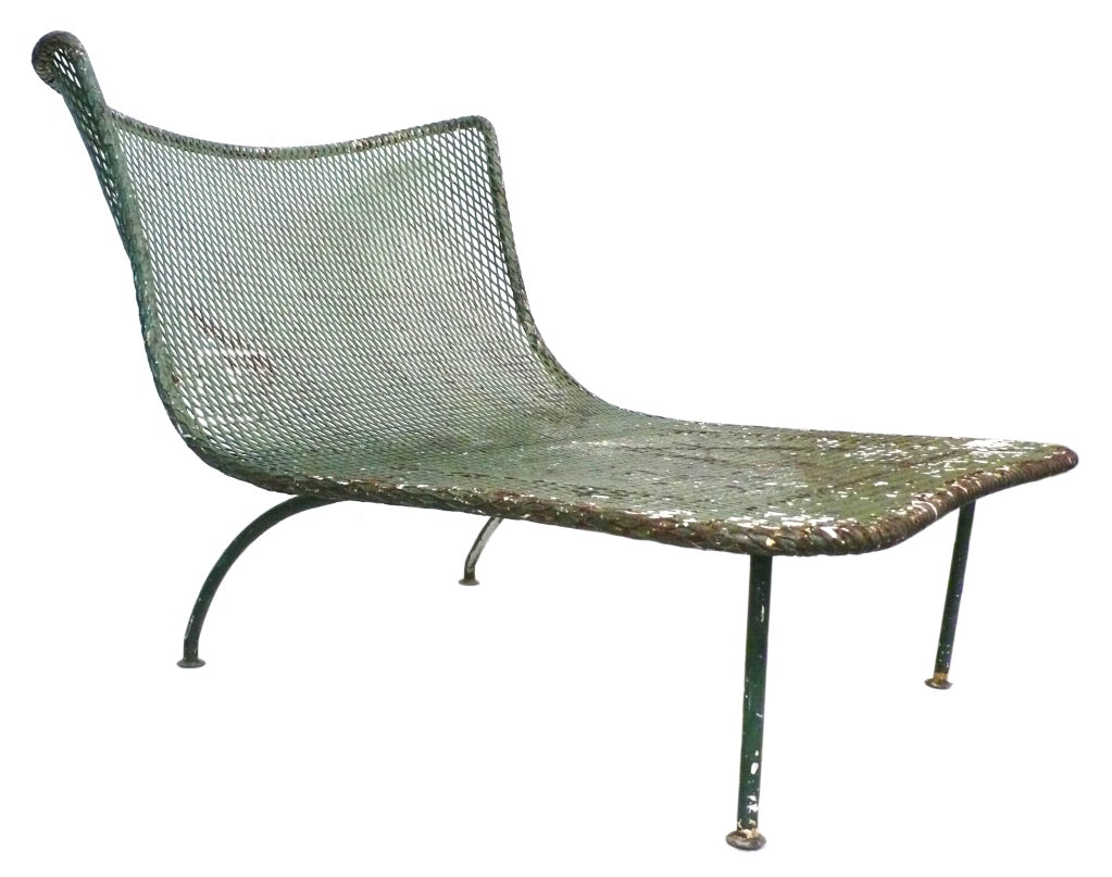 Unusual mesh and wrought iron outdoor lounge chair at 1stdibs for Wrought iron outdoor furniture