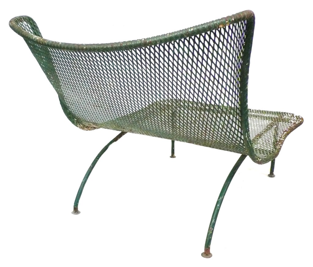 Unusual mesh and wrought iron outdoor lounge chair at 1stdibs for Mesh patio chairs