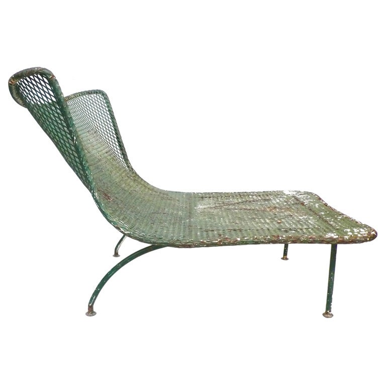 Unusual Mesh and Wrought Iron Outdoor Lounge Chair at 1stdibs