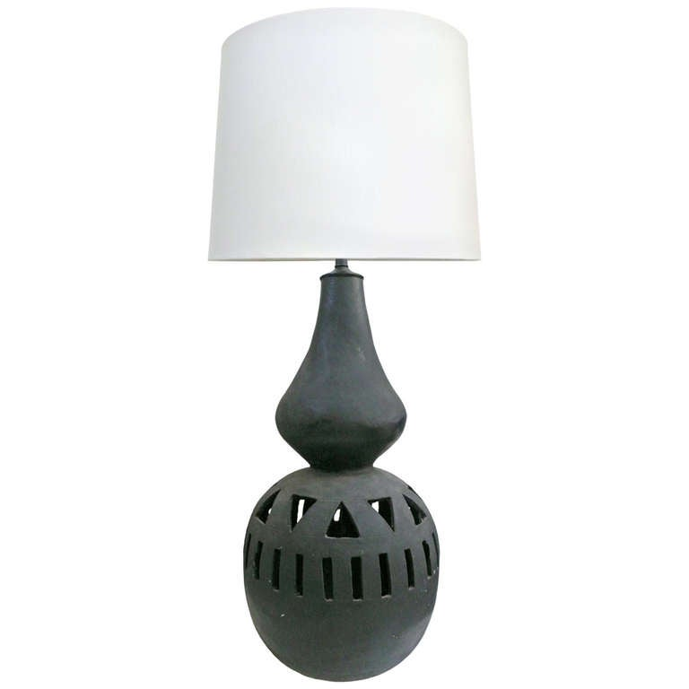large ceramic oaxacan table lamp at 1stdibs. Black Bedroom Furniture Sets. Home Design Ideas