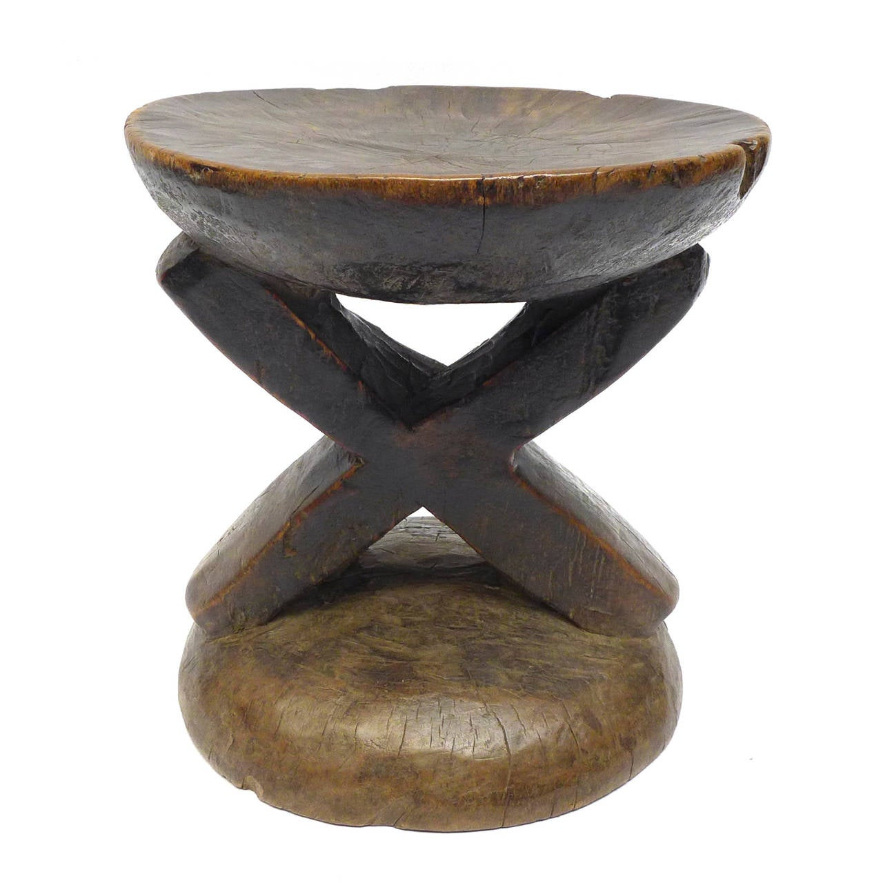 Hand carved wood african stool at stdibs