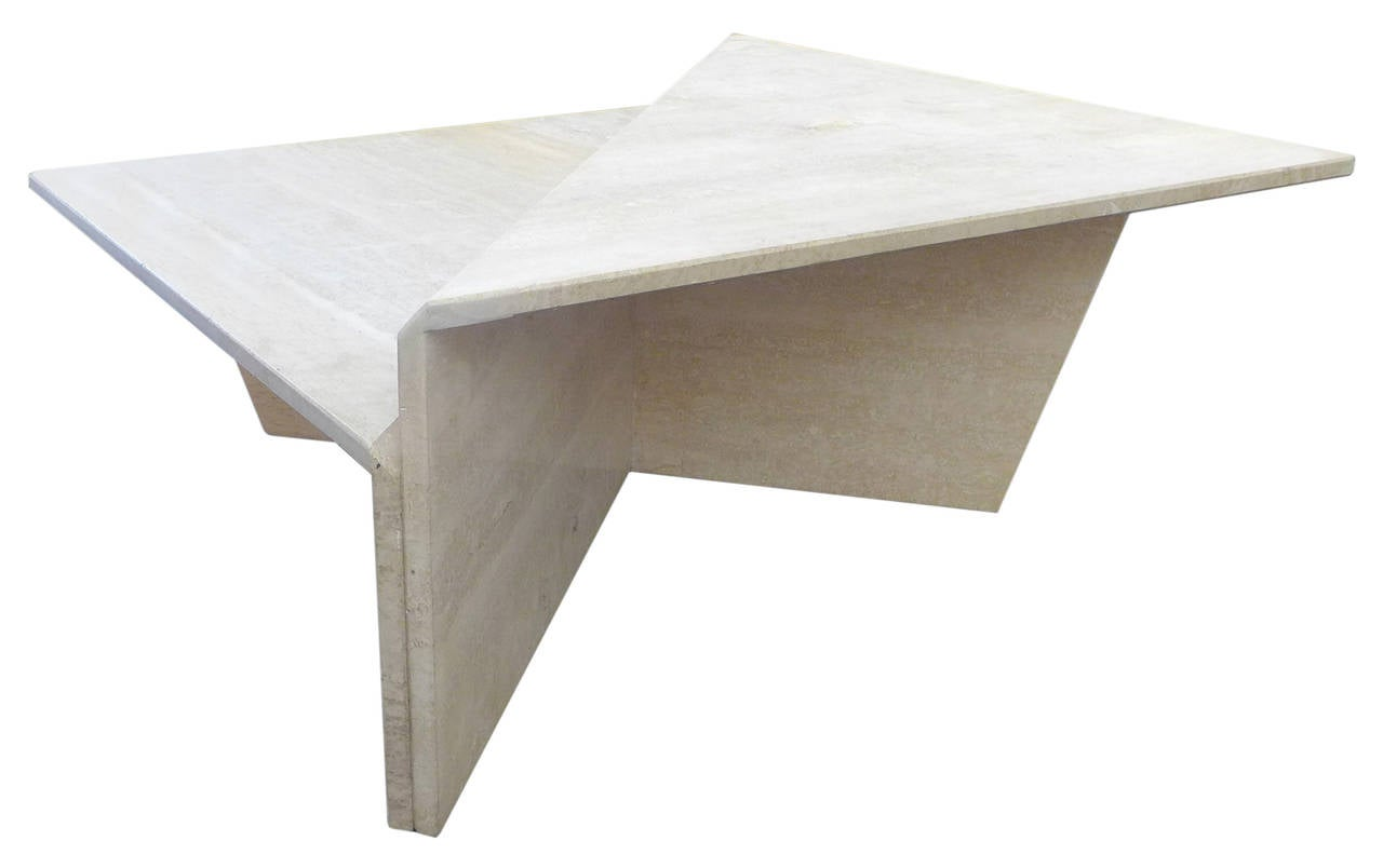 Two Piece Modular Travertine Coffee Table At 1stdibs