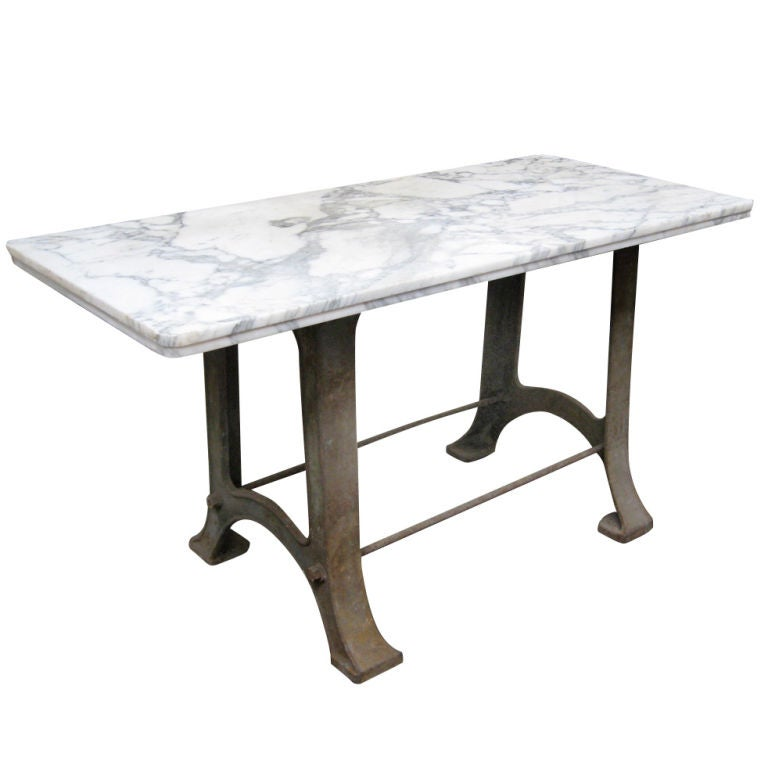 Marble Top Industrial Table At 1stdibs