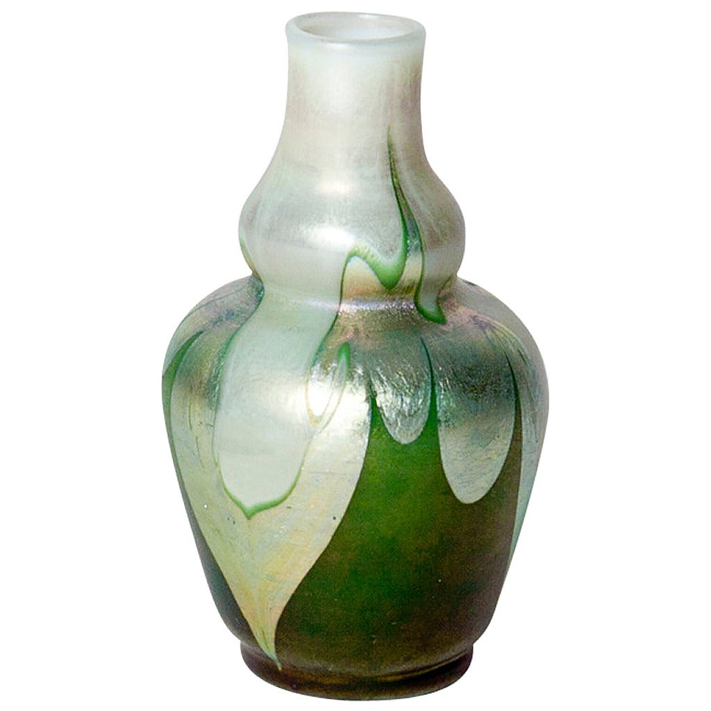 tiffany favrile glass cabinet double gourd vase at 1stdibs