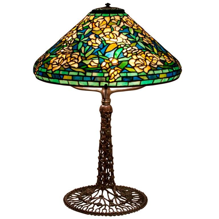 28 rose tiffany table lamp zine alloy base bronze finished