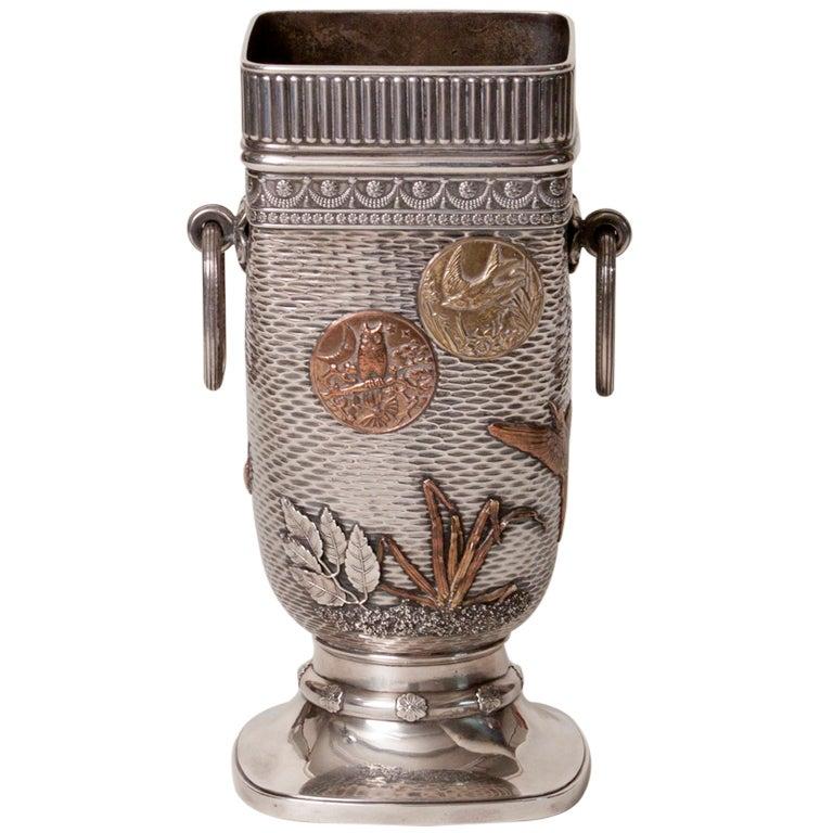 Gorham Co Silver Mixed Metal Vase At 1stdibs