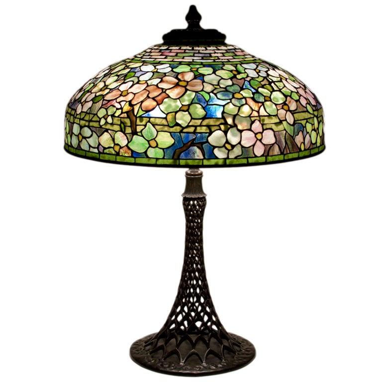 Tiffany studios dogwood table lamp at 1stdibs