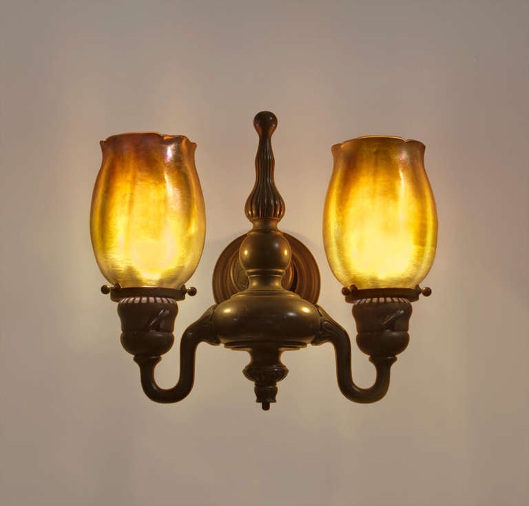 Tiffany Double Wall Lights : Set of Four Tiffany Studios Favrile Glass and Bronze Double Sconces at 1stdibs