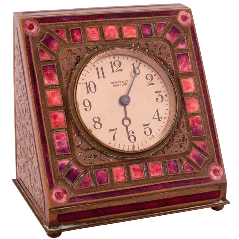Tiffany Studios Enameled Desk Clock At 1stdibs