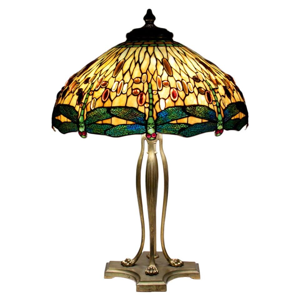 Blue glass table lamp base - Tiffany Studios Drophead Dragonfly Table Lamp At 1stdibs
