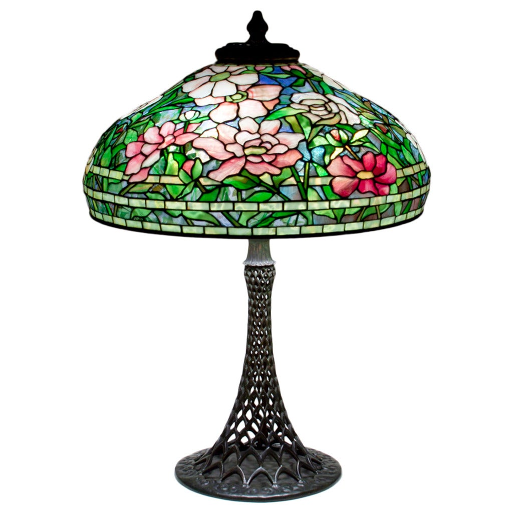 Tiffany studios 39peony39 table lamp on rare openwork base for F k a table lamp