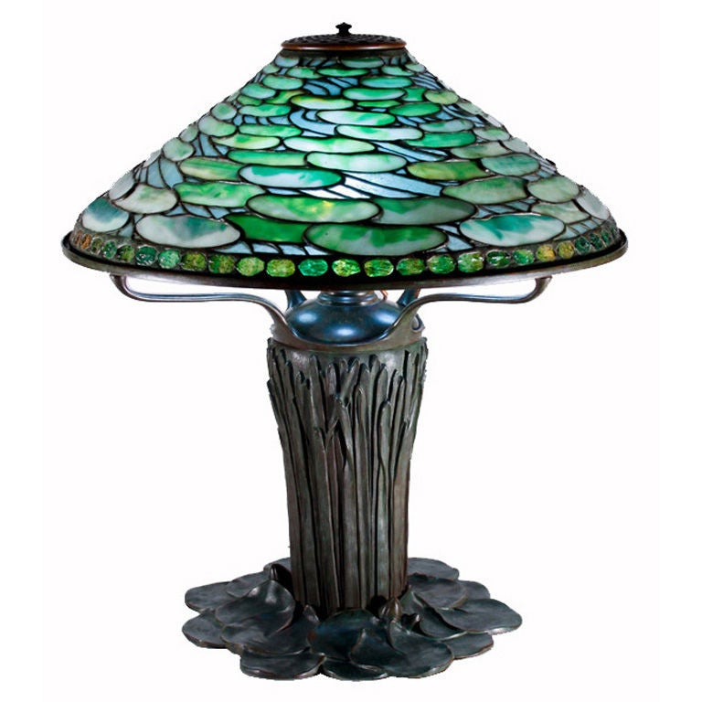 tiffany studios lily pad table lamp on cattail base at 1stdibs
